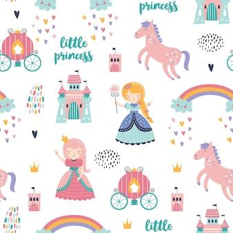 Padrão sem emenda infantil com princesa, castelo, carruagem em estilo escandinavo.
