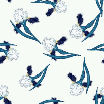Padrão sem emenda isolado com formas aleatórias de flores de íris azul. fundo branco. impressão abstrata. ilustração vetorial para estampas de têxteis sazonais, tecidos, banners, cenários e papéis de parede.