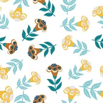 Padrão sem emenda isolado com impressão simples aleatória de flores coloridas de azul e amarelo.