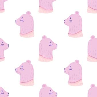 Padrão sem emenda isolado com ornamento de cabeça de urso lilás