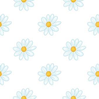 Padrão sem emenda isolado com silhuetas de flores de margarida azul. fundo branco. pano de fundo perfeito. ilustração das ações. desenho vetorial para têxteis, tecidos, papel de embrulho, papéis de parede.