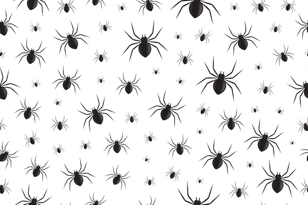 Padrão sem emenda isolado realista com aranhas para decoração e cobertura em fundo branco. fundo assustador para o halloween.