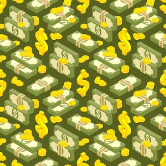 Padrão sem emenda isométrica de dinheiro