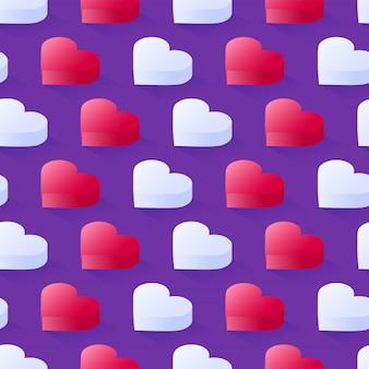Padrão sem emenda isométrico vector, geométricas planas corações rosa e brancas