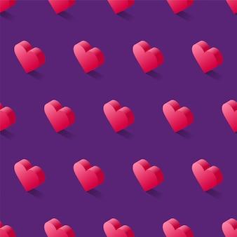 Padrão sem emenda isométrico vector, geométricas planas corações rosa