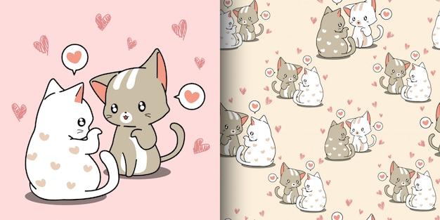 Padrão sem emenda kawaii casal gato está sussurrando amor com fundo de coração