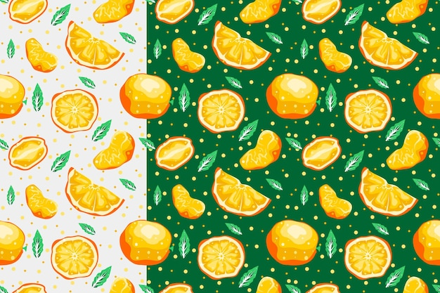 Padrão sem emenda laranja com desenho vetorial de fundo claro e escuro