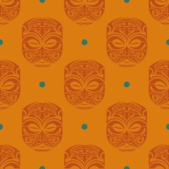 Padrão sem emenda laranja com máscaras das tribos da polinésia.