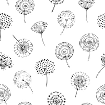 Padrão sem emenda-leão. dente de leão grama pólen planta sementes soprando tranquilo vento cotão flor macro natureza primavera textura