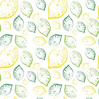 Padrão sem emenda limões e limão frutas verão ornamento fundo