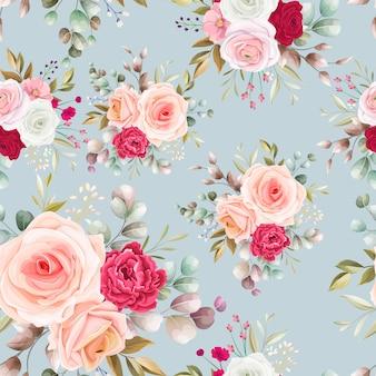 Padrão sem emenda lindo design de flores e folhas