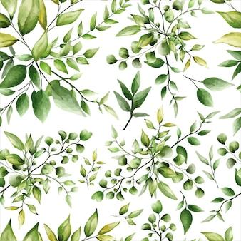 Padrão sem emenda lindo design de folhas verdes