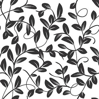 Padrão sem emenda lindos ramos e folhas preto e branco