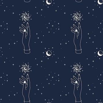 Padrão sem emenda mágico com mão sol, lua e estrelas místicas esotéricas e celestiais fundo azul escuro.