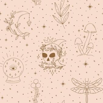 Padrão sem emenda mágico contemporâneo místico vetor cogumelos lua folha chave bola de cristal scull
