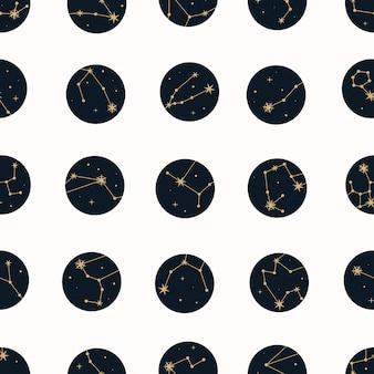 Padrão sem emenda mágico de vetor com constelações e estrelas.