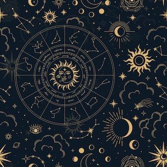 Padrão sem emenda mágico de vetor com constelações, roda do zodíaco, sol, lua, olhos mágicos, nuvens e estrelas.