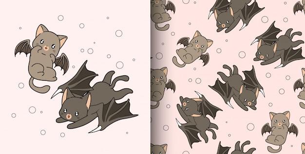 Padrão sem emenda mão desenhada 2 caracteres de gato dragão kawaii