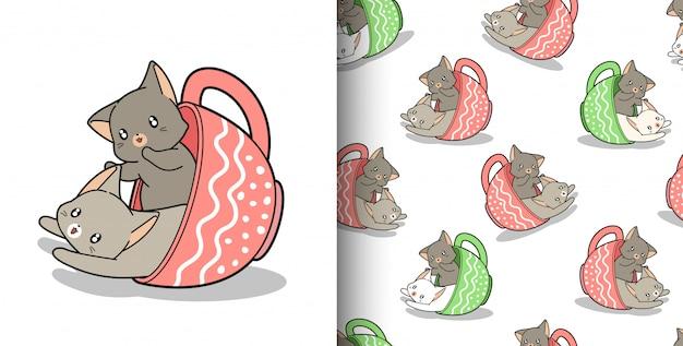Padrão sem emenda mão desenhada 2 gatos kawaii dentro de uma xícara de café