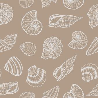 Padrão sem emenda marinho com concha. horário de verão, mar, conchas do mar subaquáticas desenhadas à mão