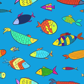Padrão sem emenda marinho de crianças fofas com peixes coloridos de desenhos animados