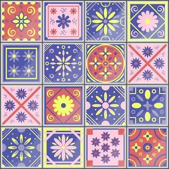 Padrão sem emenda mediterrâneo vetor português azulejo azulejo design de interiores da moda
