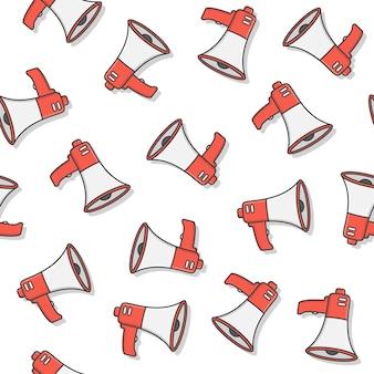 Padrão sem emenda megafone em um fundo branco. ilustração do vetor do ícone do megafone toa alto-falante