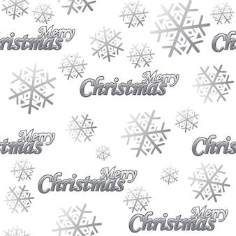 Padrão sem emenda merry christmas vector silver logo e neve em fundo branco