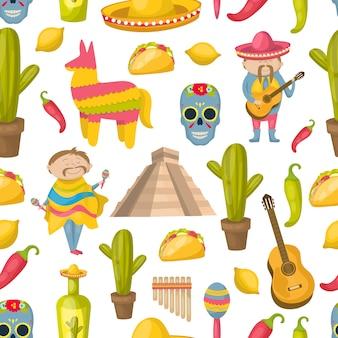 Padrão sem emenda mexicano com elementos de tradições e atrações da ilustração vetorial de país