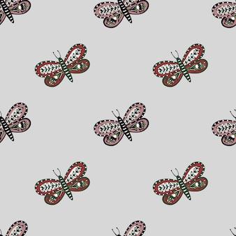 Padrão sem emenda minimalista com enfeite folclórico de borboleta
