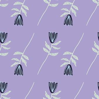 Padrão sem emenda minimalista de silhuetas abstratas de flores. tulipas azuis com galhos cinza sobre fundo roxo claro.
