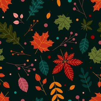 Padrão sem emenda moderno com folhas de outono folhas e ervas de outono desenhadas à mão temporada de outono