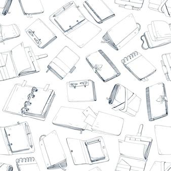 Padrão sem emenda monocromático com blocos de notas, cadernos, diários e cadernos de desenho desenhados à mão com linhas de contorno
