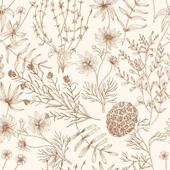Padrão sem emenda monocromático com flores silvestres desabrochando e ervas desenhadas com linhas de contorno.