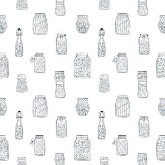 Padrão sem emenda monocromático com legumes em conserva em potes de vidro e garrafas desenhadas à mão com linhas de contorno pretas sobre fundo branco. ilustração para papel de parede, pano de fundo, impressão têxtil.