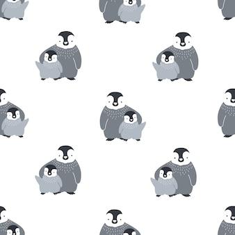 Padrão sem emenda monocromático com lindo par de abraçar a mãe e os pinguins do bebê.