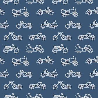 Padrão sem emenda monocromático com motocicletas de vários modelos desenhados com contornos brancos sobre fundo azul - helicóptero, bobber, esporte e motocross. ilustração vetorial no moderno estilo linear.