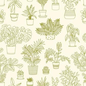 Padrão sem emenda monocromático com plantas crescendo em plantadores desenhados com linhas de contorno sobre fundo claro.
