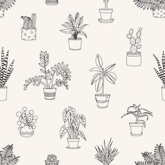 Padrão sem emenda monocromático com plantas em vasos desenhadas com linhas de contorno em branco