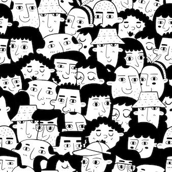 Padrão sem emenda monocromático com rostos de pessoas de diferentes etnias