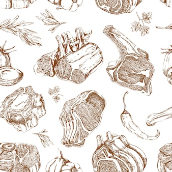 Padrão sem emenda monocromático de carne mão desenhada
