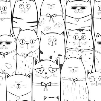 Padrão sem emenda monocromático de gatos engraçados