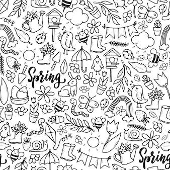 Padrão sem emenda monocromático de primavera com rabiscos