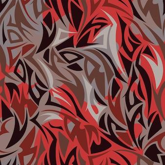 Padrão sem emenda multicamadas do estilo maori na cor vermelha