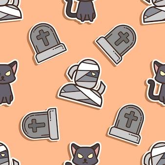 Padrão sem emenda múmia e gato preto no dia do halloween