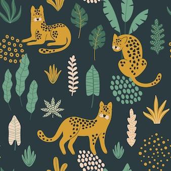 Padrão sem emenda na moda com leopardos.