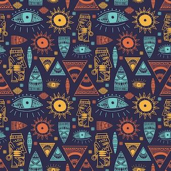 Padrão sem emenda na moda maia africana com doodle objetos antigos desenhados à mão