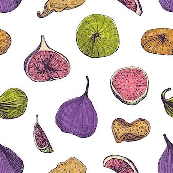 Padrão sem emenda natural com deliciosos figos frescos e secos