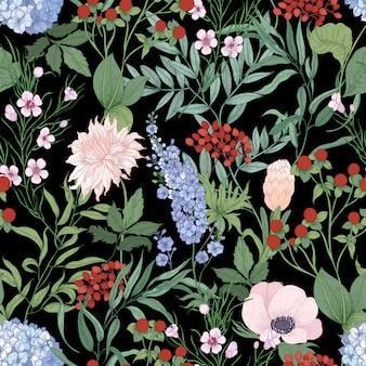 Padrão sem emenda natural com flores silvestres desabrochando em fundo preto