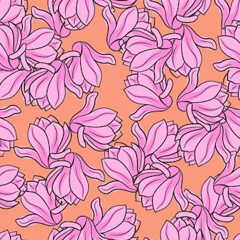 Padrão sem emenda natural com formas de flores de magnólia aleatórias de contorno rosa. fundo laranja. ilustração vetorial para estampas de têxteis sazonais, tecidos, banners, cenários e papéis de parede.